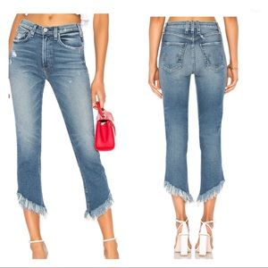 McGuire Cropped Valletta Asymmetric Frayed Jeans